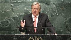 Désigné secrétaire général de l'ONU, Gutteres s'adresse à l'assemblée générale
