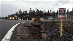 Les manifestants au chantier de Muskrat Falls
