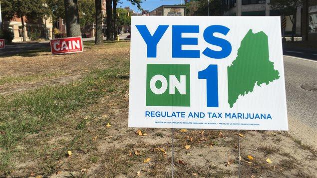 Les pancartes de la campagne en faveur de la légalisation de la marijuana dans l'état du Maine
