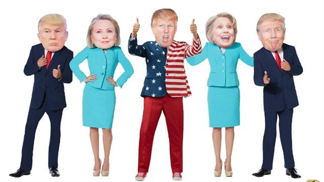 Masques de Donald Trump et Hillary Clinton vendus par Spirit Halloween.
