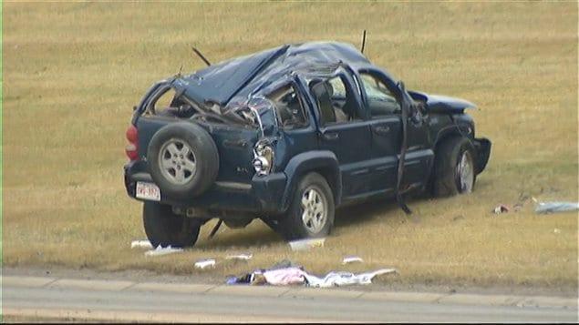 Le véhicule utilitaire sport concerné par l'accident mortel sur le boulevard McKnight à Calgary.