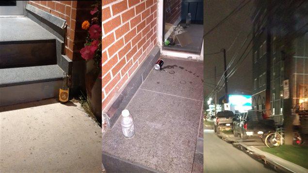 Ces photos montrent des bouteilles et canettes de bière abandonnées à l'entrée du centre islamique, et des voitures stationnées sur le trottoir devant le centre.