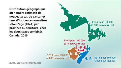 Distribution géographique du nombre de nouveaux de cas de cancer en 2016, en Atlantique.