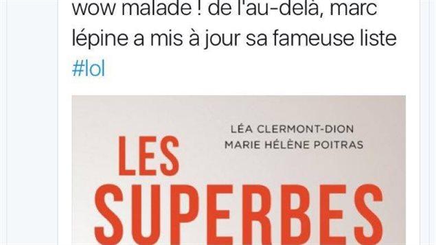 Le tweet de Vincent Olivier à propos du livre Les Superbes