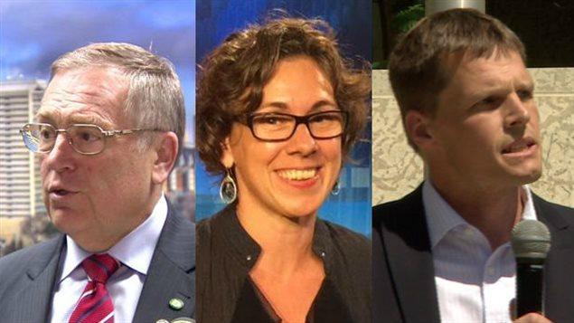 Trois candidats de la course à la mairie de Saskatoon : Don Atchison, Kelley Moore et Charlie Clark