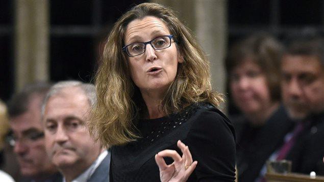 La ministre canadienne du Commerce international, Chrystia Freeland, lors de la période des questions à Ottawa