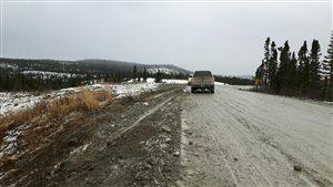 La route 389 entre Fire Lake et Mont-Wright