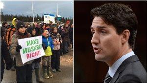 Des manifestants devant Muskrat Falls (à gauche) et Justin Trudeau (à droite).