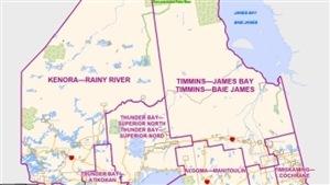 Carte illustrant les circonscriptions les plus au nord de l'Ontario