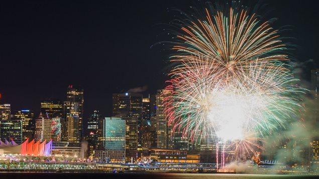Les feux d'artifice du Premier de l'an 2016 à Vancouver
