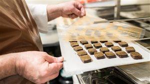 Des truffes sur un plateau à la chocolaterie Sweet Lollapalooza Chocolates.