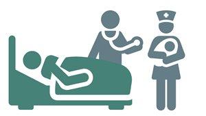 Dessin d'une infirmière, d'unmédecin avec d'un patient