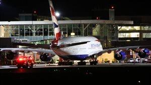 L'avion de la compagnie British Airways sur le tarmac de l'aéroport de Vancouver