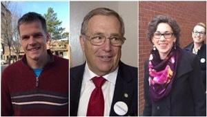 Les principaux candidats à la mairie de Saskatoon (g.à d.) : Clarlie Clark, Don Atchison et Kelley Moore.