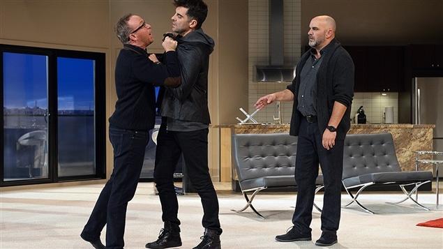 Guy Jodoin, David Savard et Sylvain Marcel dans la pièce « Nos femmes »