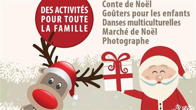 Une affiche avec un Père Noël et un renne ainsi qu'une liste d'activités qui auront lieu lors de la fête multiculturelle.