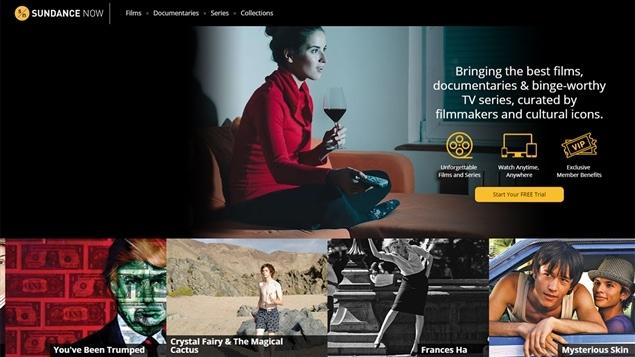 Écran d'accueil du site Sundance Now