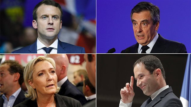Emmanuel Macron, François Fillon, Marine Le Pen et Benoît Hamon