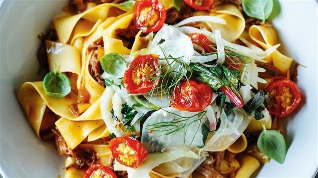 Pappardelles au ragoût de veau et aux tomates cerises confites