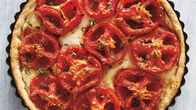 Tarte salée au fromage et aux tomates confites
