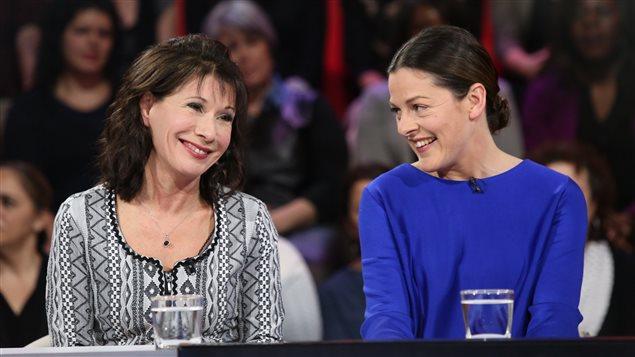 Sylvie Léonard et Sophie Cadieux sur le plateau de Tout le monde en parle