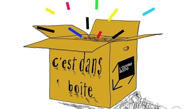 Illustration d'une boîte ouverte, pour l'événement C'est dans boîte! de l'Ouvre-Boîte Culturel de Baie-Comeau