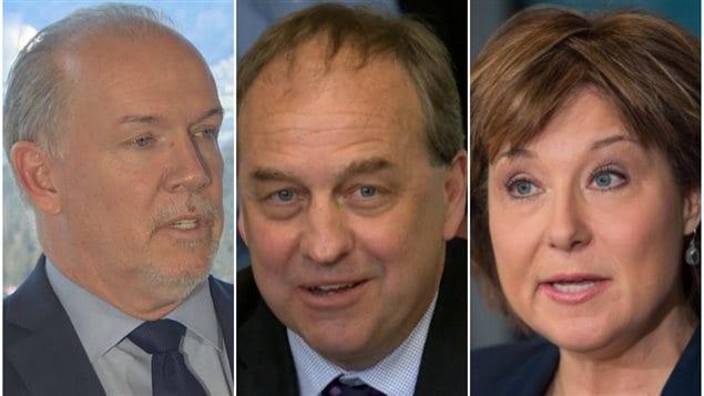 John Horgan, Andrew Weaver et Christy Clark
