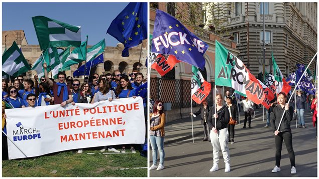 A gauche : Un groupe de jeunes fédéralistes européens à la Marche pour l'Europe à Rome ,le 25 mars dernier. A droite : Des contre-manifestants eurosceptiques et nationalistes à la Marche pour l'Europe.