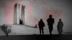 Un montage photo montrant des soldats au premier plan avec en arrière un monument et la carte du Canada.