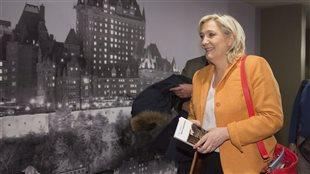 Marine Le Pen, chef du Front national français, lors de son passage au Québec en 2016