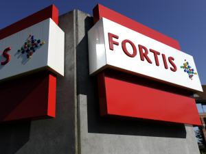 Logo de la banque belge Fortis, sur un édifice à Waterloo en Belgique