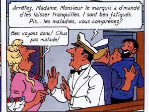 La diva Castafiore parle français dans la case de gauche et joual dans la case de droite.