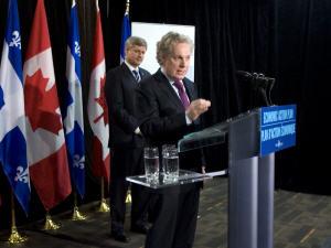 Stephen Harper et Jean Charest à Rivière-du-Loup