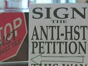 Affiche pour la pétition contre l'harmonisation des taxes de vente en C.-B.