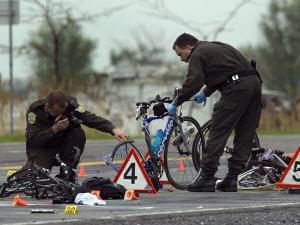 Scène de l'accident survenu vendredi à Rougemont.