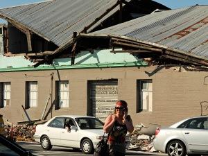 Un édifice endommagé par un puissant séisme et des répliques à Christchurch, en Nouvelle-Zélande