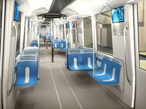 Voiture du métro de Montréal en février 2014.