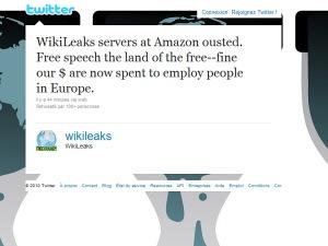 Wikileaks annonce sur Twitter avoir été expulsé des serveurs d'Amazon.com.