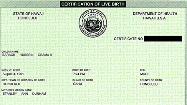 Le certificat de naissance que Barack Obama a lui-même publié sur son site.