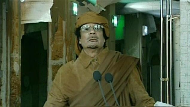 Le colonel Kadhafi lors de son discours à la nation, mardi matin, à Tripoli, le 22 février 2011.