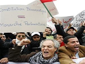 Des manifestants réclament des réformes politiques au Maroc.