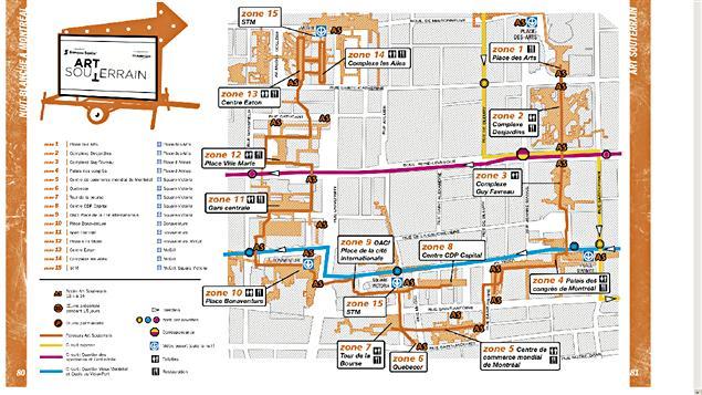 La carte du parcours d'Art souterrain 2011
