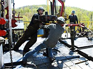 Forage d'un puits de gaz de schiste aux États-Unis.