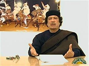 Mouammar Kadhafi lors de son allocution télévisée