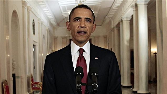Le président américain Barack Obama s'adressant à la nation pour annoncer la mort de Ben Laden