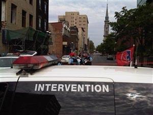 Le lieu de la fusillade sur la rue Saint-Denis, à Montréal