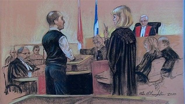 Croquis judiciaire du procès de Guy Turcotte.