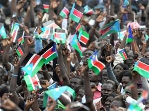 Des Soudanais du Sud célèbrent à Juba.