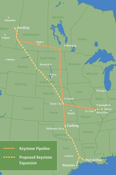 La carte du projet de construction de l'oléoduc Keystone XL.
