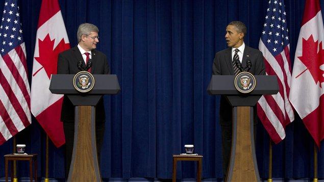 Le premier ministre canadien Stephen Harper et le président américain Barack Obama, à Washington